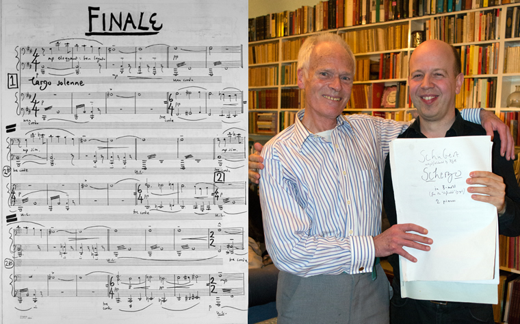 Robin Holloway & Huw Watkins with the score of Robin's Unnished/Finished